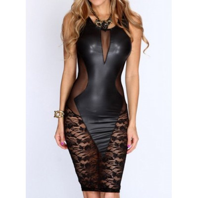 Stylish Women's Scoop Neck Sleeveless Lace Dress black