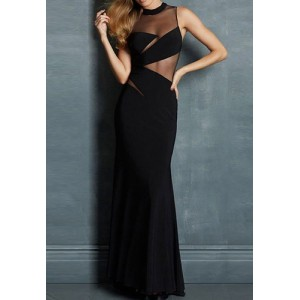 Stylish Women's Stand Collar Sleeveless Mesh Splicing Mermaid Dress black white