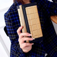 Stylish Women's Wallet With Color Block and Checked Design gold