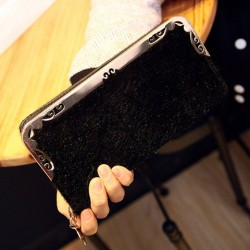 Stylish Women's Wallet With Suede and Metallic Design black