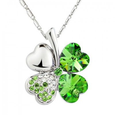 Sweet Rhinestone Decorated Clover Pendant Necklace For Women