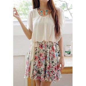 Sweet Scoop Neck Ruffled Floral Print Batwing Sleeve Chiffon Dress For Women