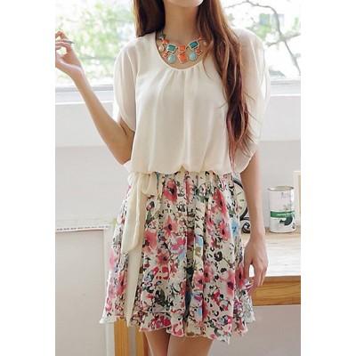 Sweet Scoop Neck Ruffled Floral Print Batwing Sleeve Chiffon Dress For Women