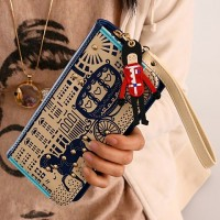 Sweet Women's Clutch Wallet With Horse and Color Block Design blue