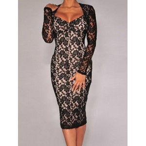 Sweetheart Neck Long Sleeves Backless Elegant Lace Bodycon Dress For Women black red