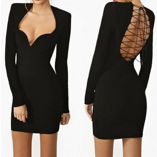Sweetheart Neck Long Sleeves Backless Sexy Black Dress For Women