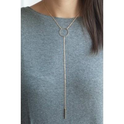 Trendy Women's Solid Color Tassel Embellished Necklace gold