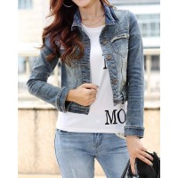 Turn-Down Collar Long Sleeves Bleach Wash Stylish Short Denim Jacket For Women blue