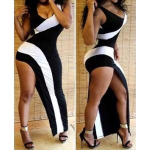 U-Neck Sleeveless Slit Color Splicing Sexy Dress For Women black white