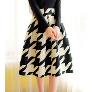 Vintage High-Waisted Houndstooth Ruffled Skirt For Women white black