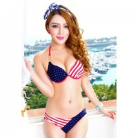 Women's American Flags Painted Two-Piece Padding Bra + T-Back Swimwear Bikini Set For Female