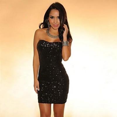 Women's Black Sequined Strapless Mini Dress