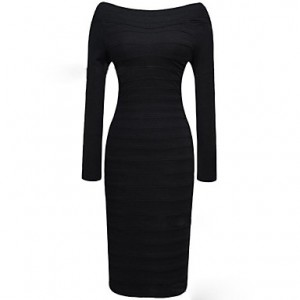 Women's Bodyco Long Sleeve Bandage Dress black
