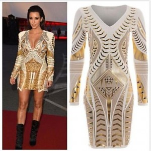 Women's Gold Stamp Bodycon Long Sleeve Dress