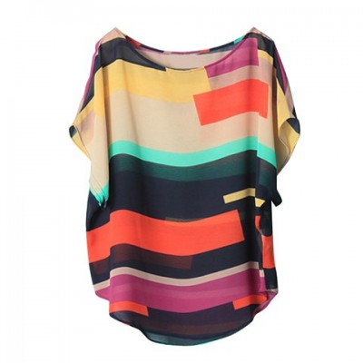 Women's Irregular Chiffon Stripe Splicing Mutli-Color Bat Sleeve Shirt Blouse