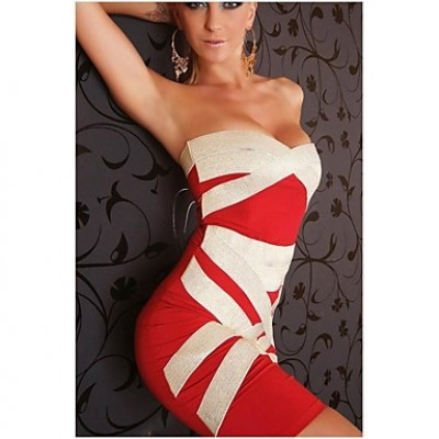 Women's Party/Bodycon/Sexy Stretchy Sleeveless Mini Dress ( Spandex/Polyester ) black red