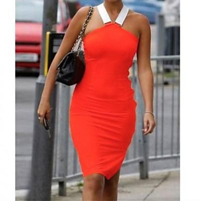 Women's Sexy/Bodycon Stretchy Sleeveless Knee-length Dress ( Spandex/Polyester )