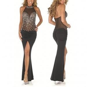 Women's Sexy Micro-elastic Sleeveless Maxi Dress ( Mesh/Spandex/Lycra ) black