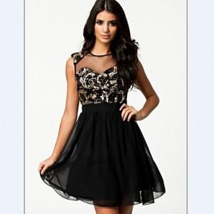 Women's Sexy Net Yarn Splicing Sequins Chiffon Dress black