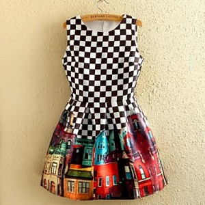 Women's Vintage Black And White Plaid Floral Print Sleeveless Dress