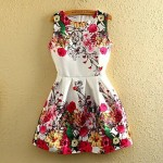 Women' Sleeveless Floral Printed Dress white