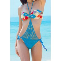 Alluring Halter Hollow Out Spliced Knitted Swimwear For Women blue