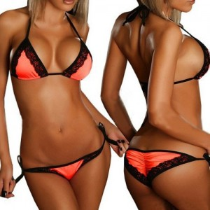 Alluring Halter Lace Embellished Color Block Bikini Set For Women orange