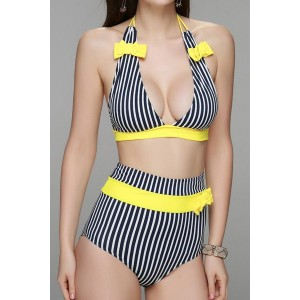 Alluring Halter Striped Bowknot Embellished High-Waisted Bikini Set For Women yellow