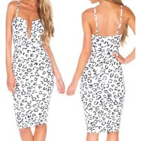 Alluring Spaghetti Strap Sleeveless Low Cut Leopard Print Dress For Women white