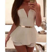 Alluring Strapless Sleeveless Low Cut Flounced Jumpsuit For Women white