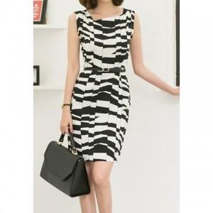 Beam Waist Packet Buttock Pattern Formal Chiffon Color Matching Dress For Women black white