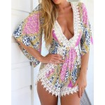 Bohemian Plunging Neck 3/4 Sleeve Laciness Printed Romper For Women