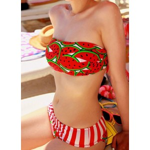 Casual Strapless Watermelon Print Striped Splicing Drawstring Divided Type Swimwear For Women red