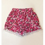 Casual Women's Floral Print Beach Shorts red