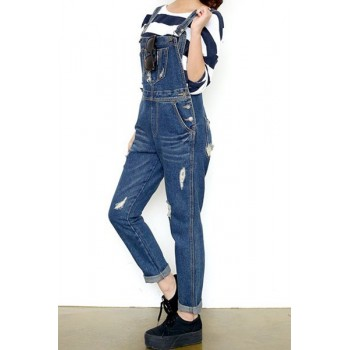 Chic Style Hipster Pockets Embellished Overalls For Women blue