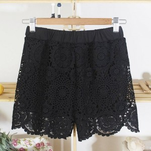 Chic Style Hook Flower Hollow Out Petal Edge Shorts For Women black white