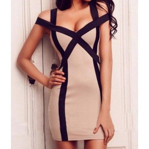Color Block Bodycon Sexy Sweetheart Neck Bandage Dress For Women