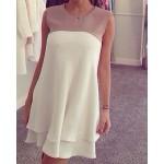 Color Block Sleeveless Sweet Jewel Neck Women's Dress white