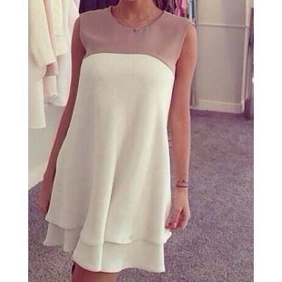 Color Block Sleeveless Sweet Jewel Neck Women's Dress white