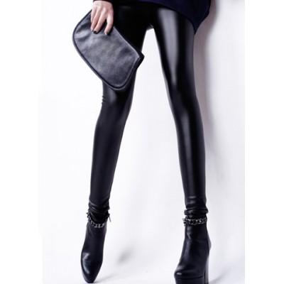 Elastic Waist Faux Leather Stylish Black Pencil Pants For Women black