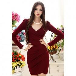 Elegant Style V-Neck Side Pleated Design Long Sleeve Cotton Blend Dress For Women wine red