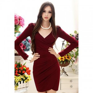 Elegant Style V-Neck Side Pleated Design Long Sleeve Cotton Blend Dress For Women wine red