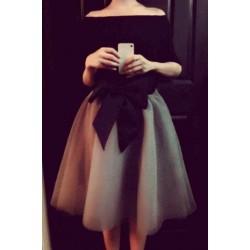 Elegant Women's Boat Neck Long Sleeve Bowknot Embellished Suit black gray