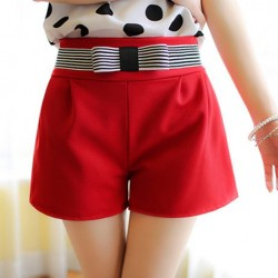 Elegant Women's Bowknot Embellished Solid Color High-Waisted Shorts red