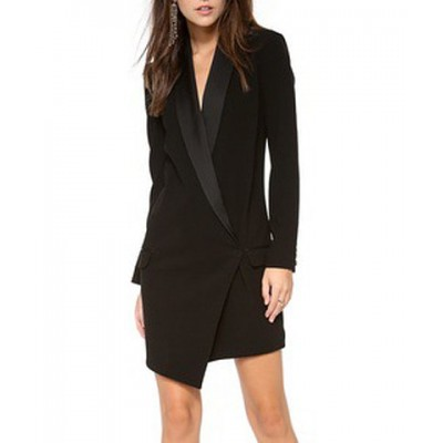 Elegant Women's Shawl Collar Long Sleeve Dress black white