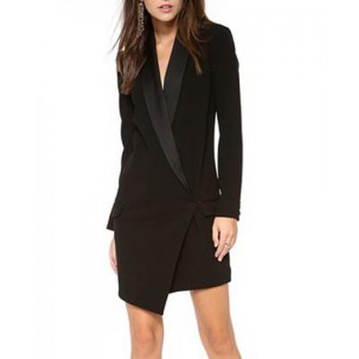 Elegant Women's Shawl Collar Long Sleeve Dress black white