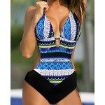 Ethnic Women's Halterneck Printed One-Piece Swimsuit blue