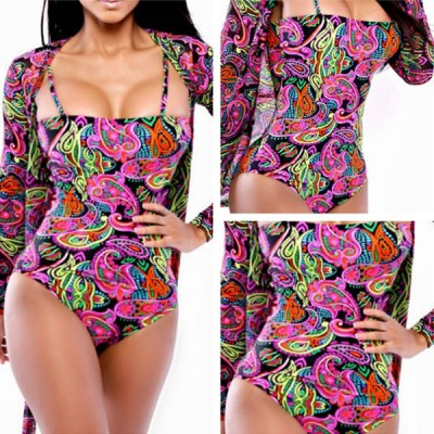 Fashionable Women's Spaghetti Strap Paisley One-Piece Swimsuit