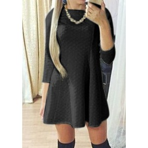 Jewel Neck Solid Color Zippered 3/4 Sleeves Stylish Dress For Women white black