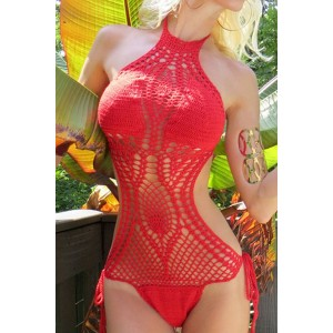 Knitted Hollow Out One-Piece Sexy Halter Women's Swimsuit white black green red